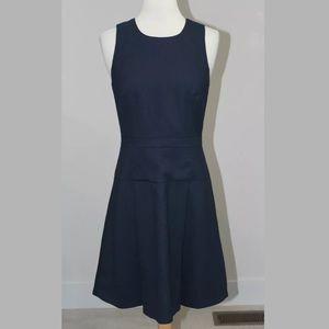 J. Crew Navy Blue Pleated Wool Flannel Dress 0